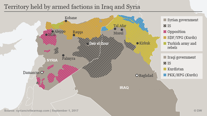 Infografik Karte Syrien Irak IS September 2017 ENG