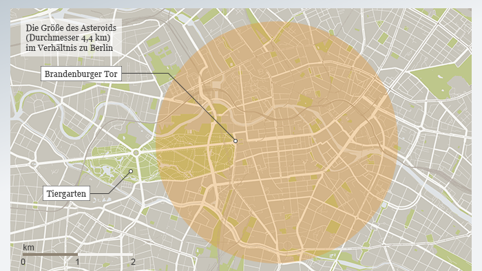 Infografik Asteroid Florence Größe im Verhältnis zu Berlin DEU