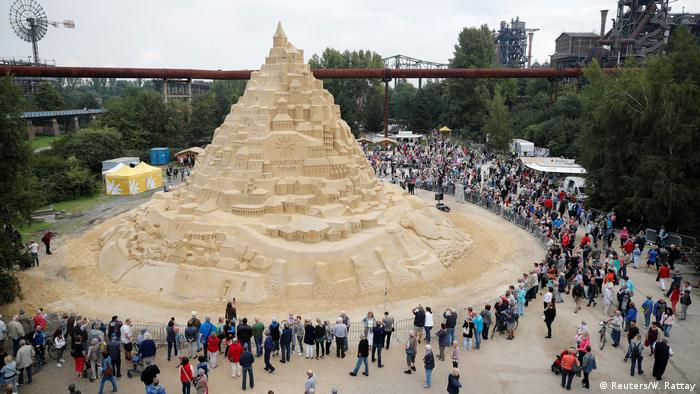 The world's tallest sandcastle is judged in Duisburg, Germany