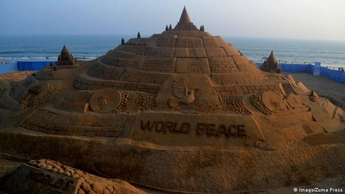 The then-highest sandcastle in the world, in India, February 2017