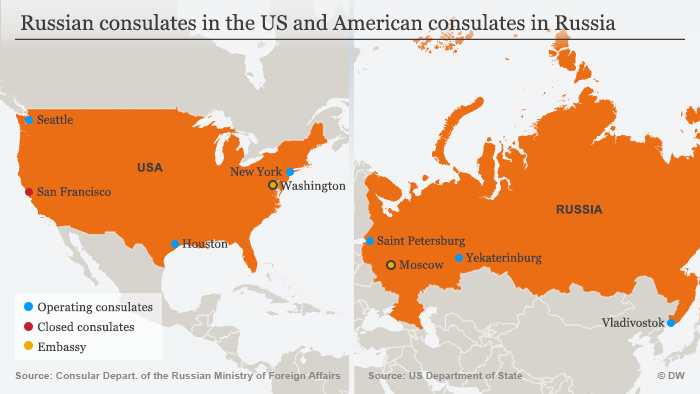 Maps of the United States and Russia showing the locations of Russian and American embassies and consulates