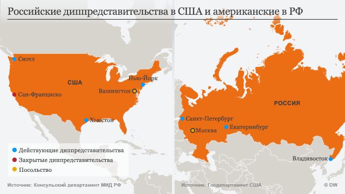 Ифографика: Диппредставительства России в США и США в РФ