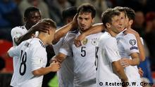Soccer Football - 2018 World Cup Qualifications - Europe - Czech Republic vs Germany - Prague, Czech Republic - September 1, 2017 Germany's Mats Hummels celebrates scoring their second goal with Joshua Kimmich and team mates REUTERS/David W Cerny