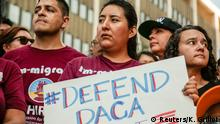 Protesters gather to show support for the Deferred Action for Childhood Arrivals (DACA) program outside the Federal Building in Los Angeles, California, U.S., September 1, 2017. REUTERS/Kyle Grillot