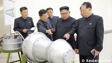 North Korean leader Kim Jong Un provides guidance on a nuclear weapons program in this undated photo released by North Korea's Korean Central News Agency (KCNA) in Pyongyang September 3, 2017. KCNA via REUTERS ATTENTION EDITORS - THIS PICTURE WAS PROVIDED BY A THIRD PARTY. REUTERS IS UNABLE TO INDEPENDENTLY VERIFY THE AUTHENTICITY, CONTENT, LOCATION OR DATE OF THIS IMAGE. NOT FOR SALE FOR MARKETING OR ADVERTISING CAMPAIGNS. NO THIRD PARTY SALES. NOT FOR USE BY REUTERS THIRD PARTY DISTRIBUTORS. SOUTH KOREA OUT. NO COMMERCIAL OR EDITORIAL SALES IN SOUTH KOREA. THIS PICTURE IS DISTRIBUTED EXACTLY AS RECEIVED BY REUTERS, AS A SERVICE TO CLIENTS. TPX IMAGES OF THE DAY
