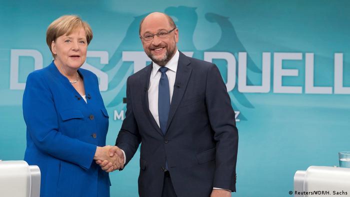 Ангела Меркель и Мартин Шульц перед началом дискуссии