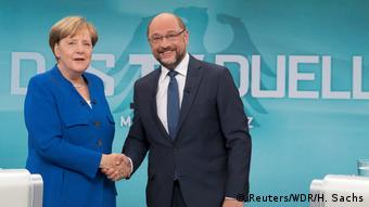 Angela Merkel and Martin Schulz meet in a TV debate (Reuters/WDR/H. Sachs)