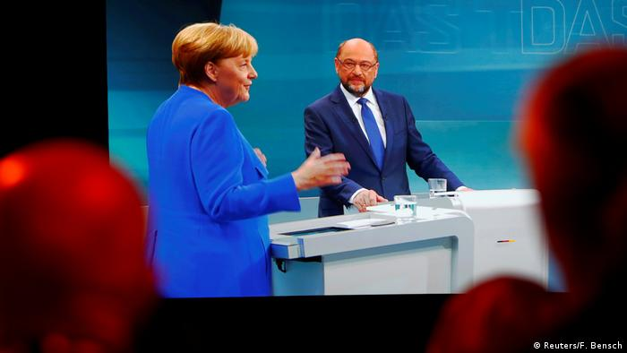 Germany's televised debate between Merkel and Schulz (Reuters/F. Bensch)