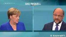 Bundestagswahl TV-Duell Merkel skeptisch Schulz ernst