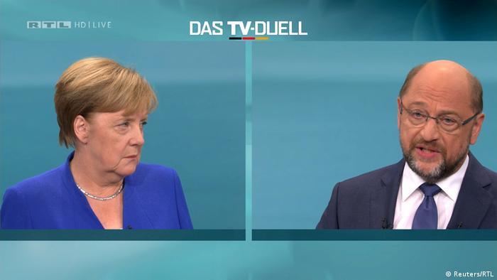 Bundestagswahl TV-Duell Merkel skeptisch Schulz ernst (Reuters/RTL)