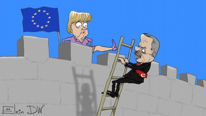 Sergey Elkin Karikatur Merkel EU-Türkeibeitritt