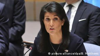 US ambassador to the UN, Nikki Haley, at the UN.