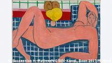 """13.09.-14.1.2018 Ausstellung """"Bonnard – Matisse: Es lebe die Malerei! - Vive la peinture!"""" im Frankfurter Städel. Im Fokus: der künstlerischer Austausch zwischen den eng befreundeten Malerkollegen. Henri Matisse (1869–1954) Großer liegender Akt, 1935 Öl auf Leinwand, 66.4 x 93.3 cm The Baltimore Museum of Art, The Cone Collection ### Nur zur Berichterstattung über die Ausstellung ###"""
