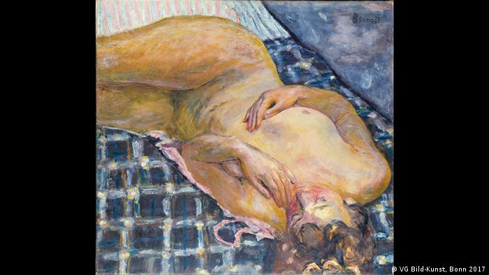 Pierre Bonnard's Reclining Nude Against a White and Blue Plaid, is extremely small, measuring just 60 by 65 centimeters (about 24 by 26 inches). It belongs to the Städel Museum. (VG Bild-Kunst, Bonn 2017)
