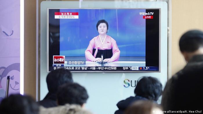 Südkorea Atomtest Nordkorea KCTV Nachrichtensprecherin Ri Chun Hee (picture-alliance/dpa/K. Hee-Chul)