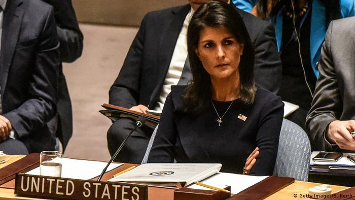 Nikki Haley, US ambassador to the UN, softened the text of the resolution to secure Russian and Chinese support