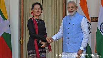 Indien Premierminister Modi Myanmars San Suu Kyi
