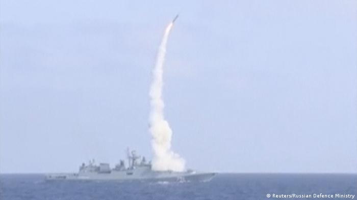 Запуск крылатой ракеты морского базирования Калибр, сентябрь 2017 года