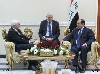 In this photo released by the Iraqi Government, Iraqi Prime Minister Nouri al-Maliki, right, meets Frank-Walter Steinmeier, the German foreign minister in Baghdad, Iraq, Tuesday, Feb. 17, 2009. (AP Photo/Iraqi Government) ** EDITORIAL USE ONLY **