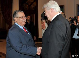 In this photo released by the Iraqi Government, Iraqi President Jalal Talabani, left, meets Frank-Walter Steinmeier, the German foreign minister in Baghdad, Iraq, Tuesday, Feb. 17, 2009. (AP Photo/Iraqi Government) ** EDITORIAL USE ONLY **