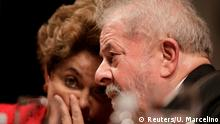 05.07.2017 Former Brazilian President Luiz Inacio Lula da Silva speaks with former Brazilian President Dilma Rousseff during the inauguration of the new National Directory of the Workers' Party, in Brasilia, Brazil July 5, 2017. REUTERS/Ueslei Marcelino