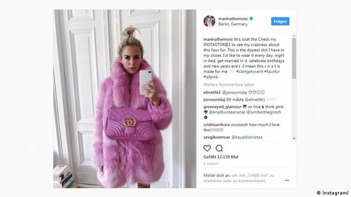 Fashion Instagrammer Marina Ilic - Screenshot