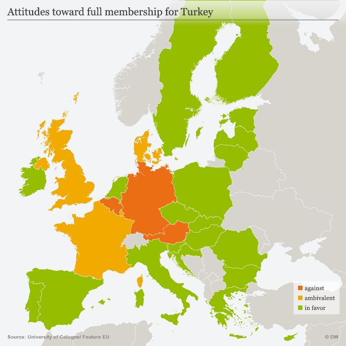 Map showing attitudes towards Turkish EU membership