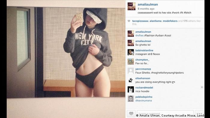 A girl raises her sweatshirt to show off her body in a online photo as others comment on the image (Amalia Ulman, Courtesy Arcadia Missa, London )