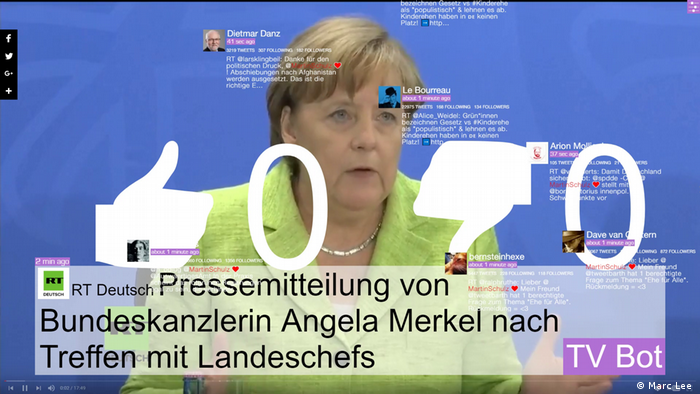 An image of Chancellor Angela Merkel at a press conference is overlaid with social media symbols (Marc Lee )