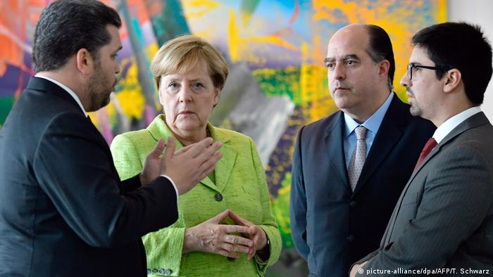 Angela Merkel meets Venezuelan opposition lawmakers in Berlin