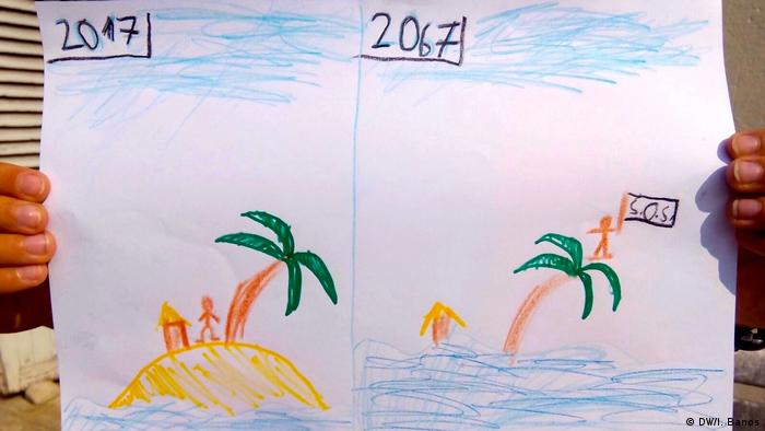 Desenho de uma criança mostra ilha em 2017 e a mesma ilha inundada em 2067