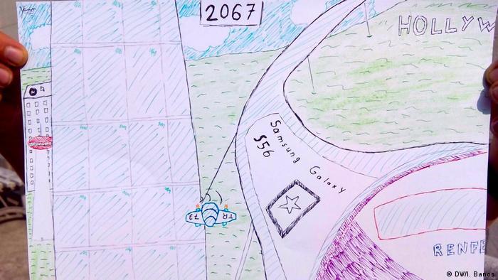 Desenho de criança mostra que o mundo no futuro terá equipamentos eletrônicos e ufos