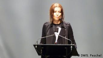 Author Elif Shafak at a stage presentation in 2017