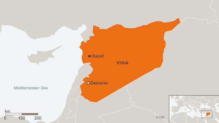 Map showing Masyaf, Syria