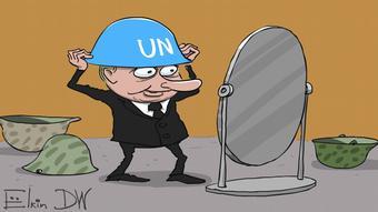 Карикатура Сергія Йолкіна про Путіна-миротворця