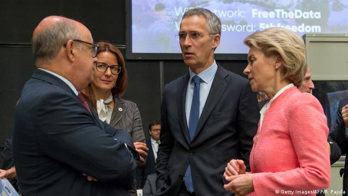 Ursula von der Leyen with NATO's Jens Stoltenberg at a ministerial meeting in Tallinn