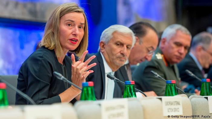 Federica Mogherini, EU chief diplomat with other ministers in Tallinn