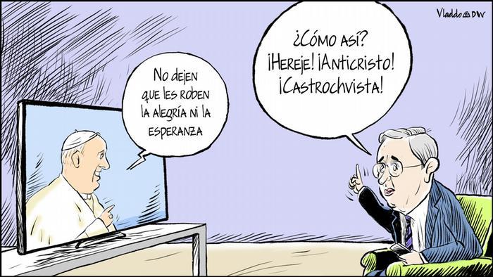 Kolumbien Karikatur von Vladdo - La pataleta de Uribe