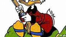 Das undatierte Handout zeigt die Comic-Figur Dagobert Duck, der auf einem Geldsack mit Euro sitzt. Geld macht doch gluecklich, jedenfalls, wenn man eine Menge davon besitzt. Das geht aus einer am Dienstag, 8. Januar 2002, veroeffentlichten britischen Studie hervor.