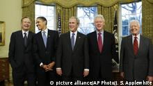 USA Ex-Präsidenten - Barack Obama, George H.W. Bush, Bill Clinton und Jimmy Carter