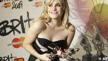 Welsh Singer Duffy backstage at the Brit Awards 2009 at Earls Court exhibition centre in London, England, Wednesday, Feb. 18, 2009, after she took three awards. (AP Photo/Joel Ryan)