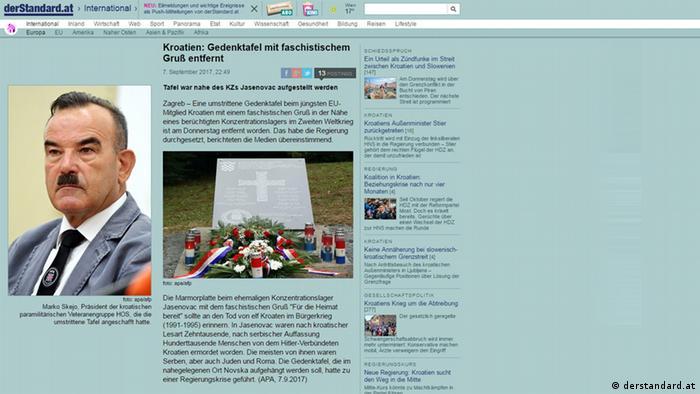 Screenshot Presseschau - derStandard.at - Kroatien: Gedenktafel mit faschistischem Gruß entfernt