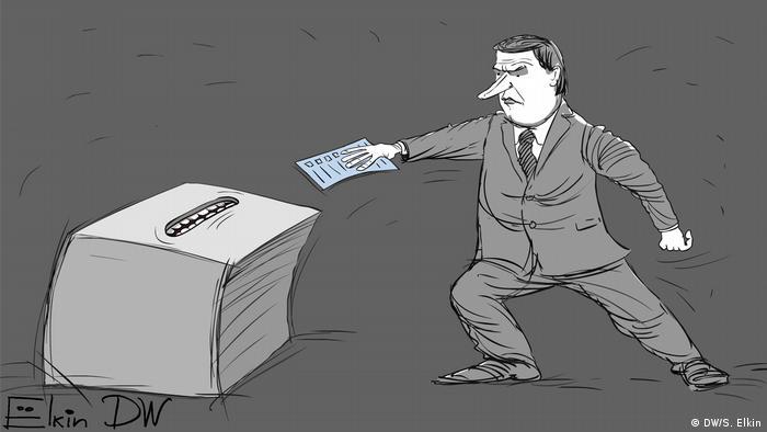 Избиратель пытается вбросить бюллетень в урну для голосования с зубами (карикатура)