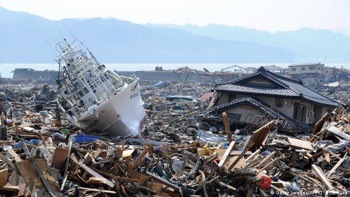 Consecuencias del sismo y tsunami en Otsuchi, Japón, en 2011.
