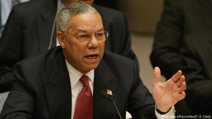 Colin Powell speaking at the UN