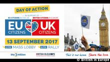 Poster: Mass lobby of UK Parliament on 13th September poster zu Rechte von EU-Bürgern in Großbritannien
