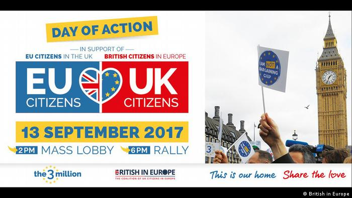 Poster: Mass lobby of UK Parliament on 13th September poster zu Rechte von EU-Bürgern in Großbritannien (British in Europe)