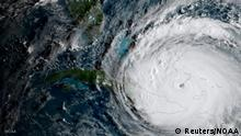 Hurricane Irma is driving toward Florida passing the eastern end of Cuba in this NASA's GOES-16 satellite image taken at about 0800 EDT on September 8, 2017. Courtesy NOAA National Weather Service National Hurricane Center/Handout via REUTERS ATTENTION EDITORS - THIS IMAGE WAS PROVIDED BY A THIRD PARTY TPX IMAGES OF THE DAY