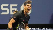 Sept 8, 2017; New York, NY, USA; Rafael Nadal of Spain after beating Juan Martin del Potro of Argentina (not pictured) in Ashe Stadium at the USTA Billie Jean King National Tennis Center. Mandatory Credit: Robert Deutsch-USA TODAY Sports