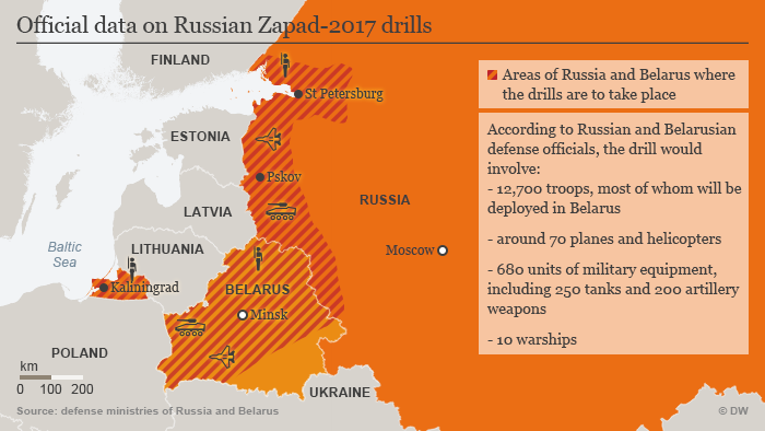 A map of plans for Zapad-2017 military war games